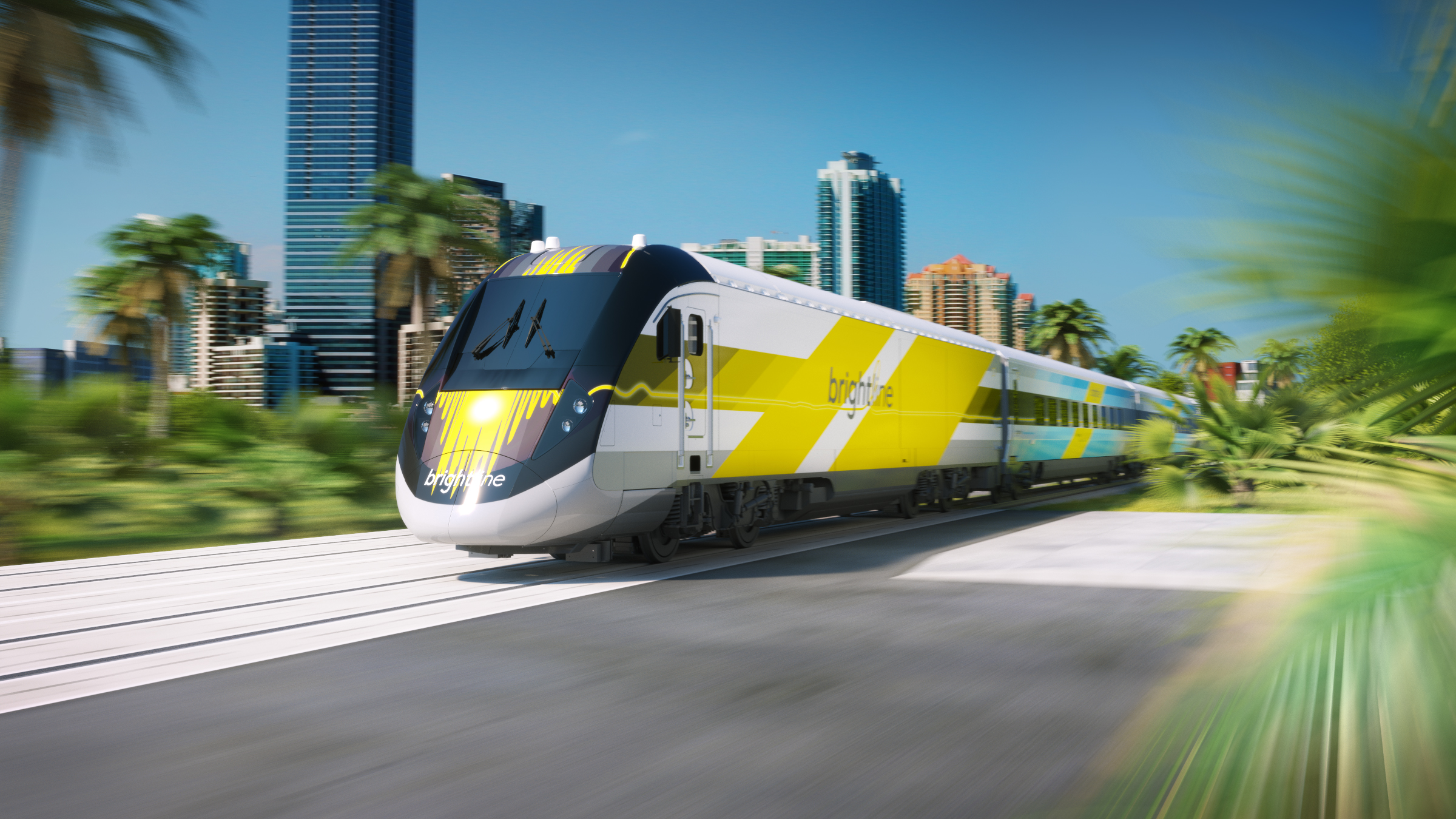 A Virgin Trains USA, formerly known as Brightline, train is seen in an undated photo posted to the company's website.