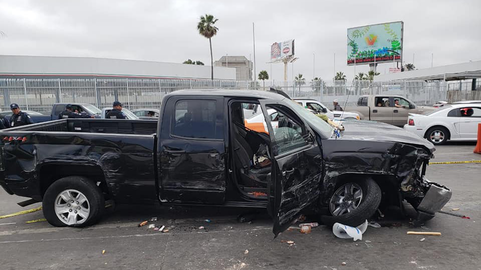 A pickup is seen after Mexican police say an American man trying to rush the U.S. border in Tijuana crashed into 17 vehicles, five people and several vendor carts in a May 13, 2019, photo posted to Facebook by the Tijuana Secretary of Public Security.