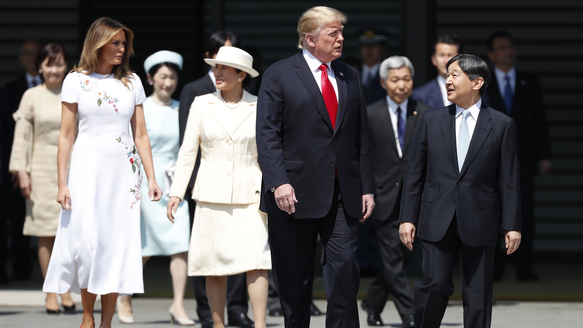 U.S. President Donald Trump and first lady Melania Trump are escorted by Japan's Emperor Naruhito and Empress Masako during an welcome ceremony at the Imperial Palace on May 27, 2019 in Tokyo, Japan. (Credit: Issei Kato/Pool/Getty Images)