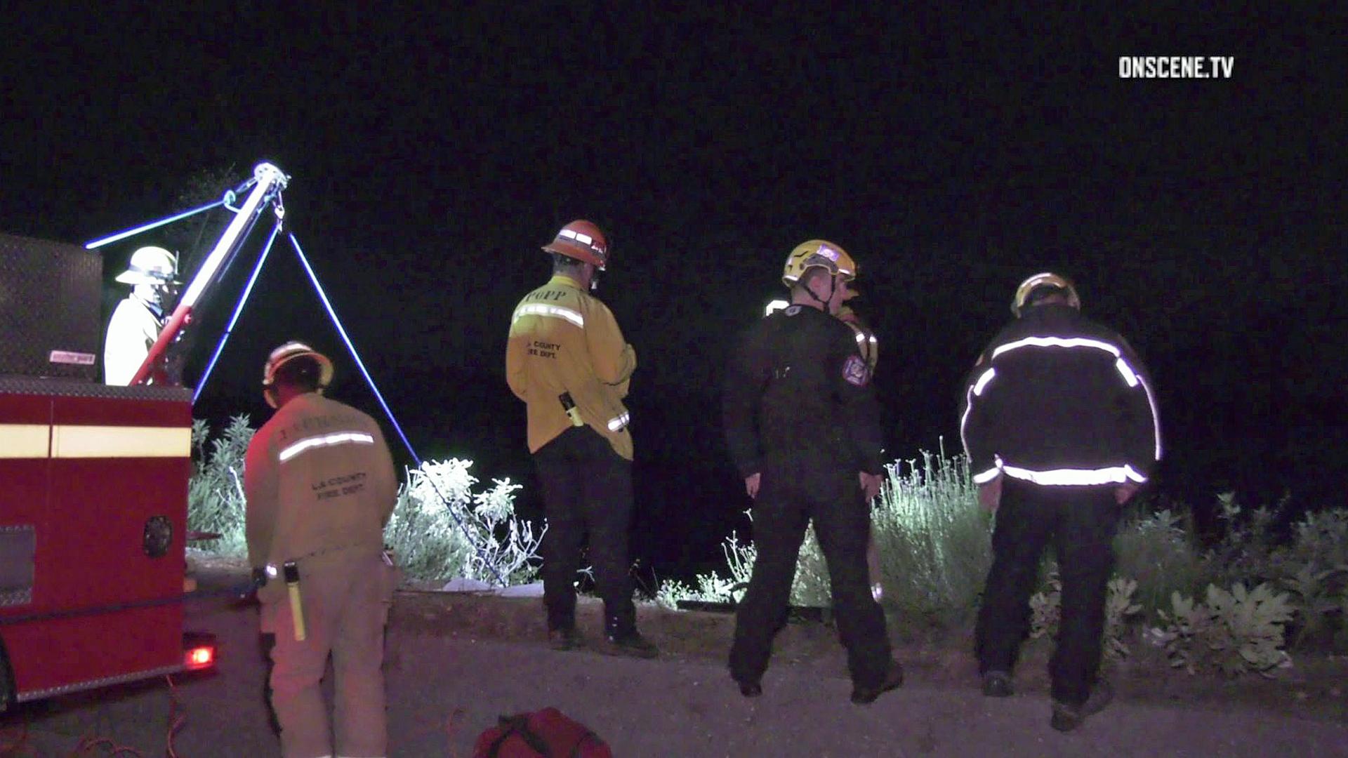 Rescue crews respond to a crash on Angeles Crest Highway on June 3, 2019. (Credit: OnScene.TV)