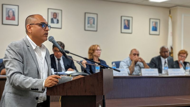 Saul Sarabia, chairman of Los Angeles County's Probation Reform and Implementation Team, discusses a new plan for improved oversight of the county's troubled probation department at the county Hall of Administration in Los Angeles, June 13, 2019. (Credit: Matt Stiles / Los Angeles Times)