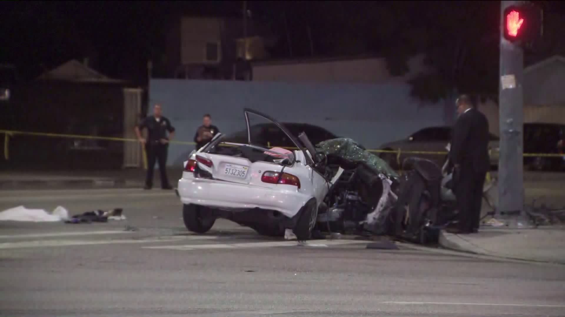 Officers respond to the scene of a collision near Highland Park on July 25, 2019. (Credit: KTLA)