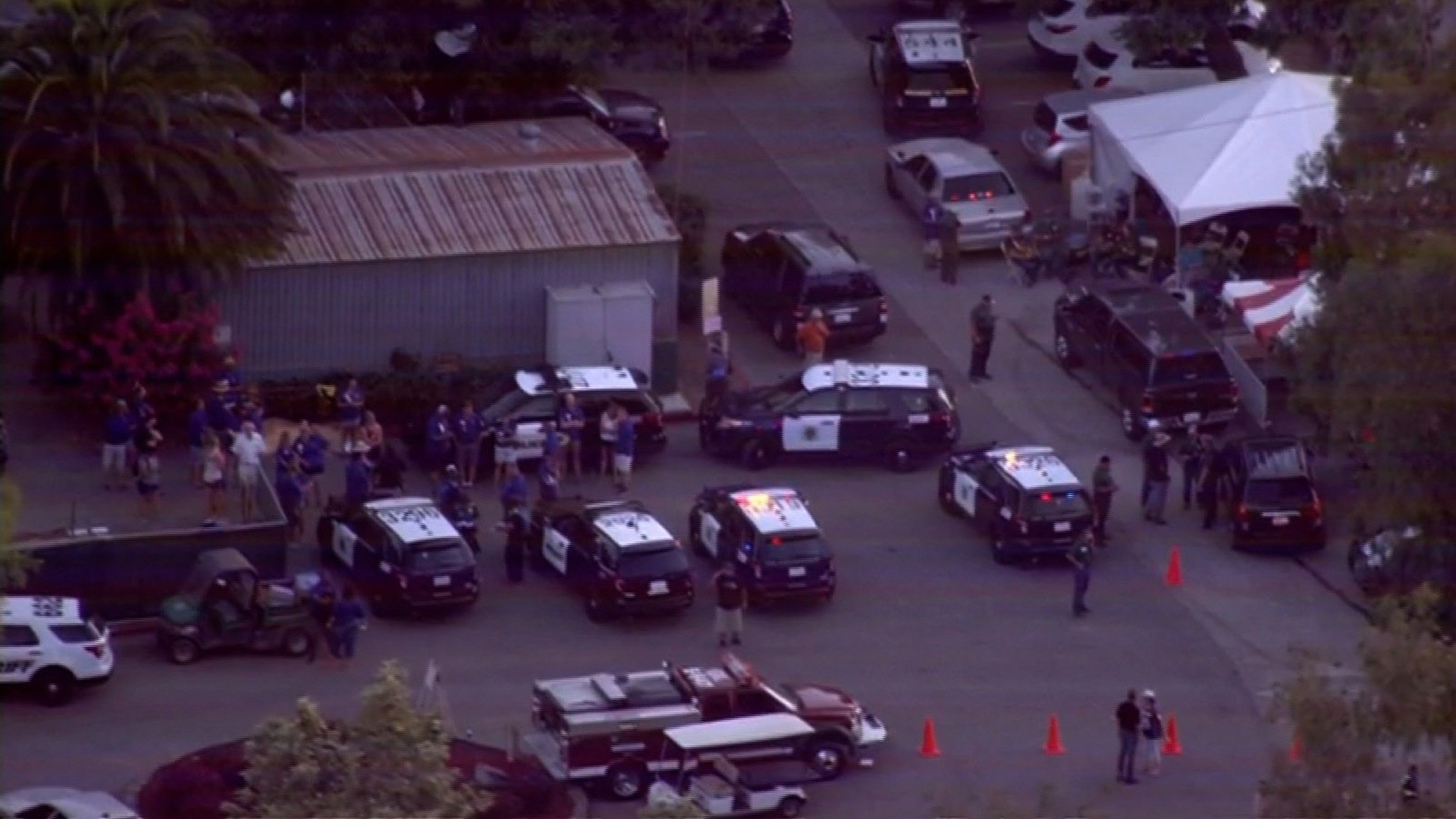 Gilroy police responded to a mass shooting at the Garlic Festival on July 28, 2019. (Credit: KPIX)