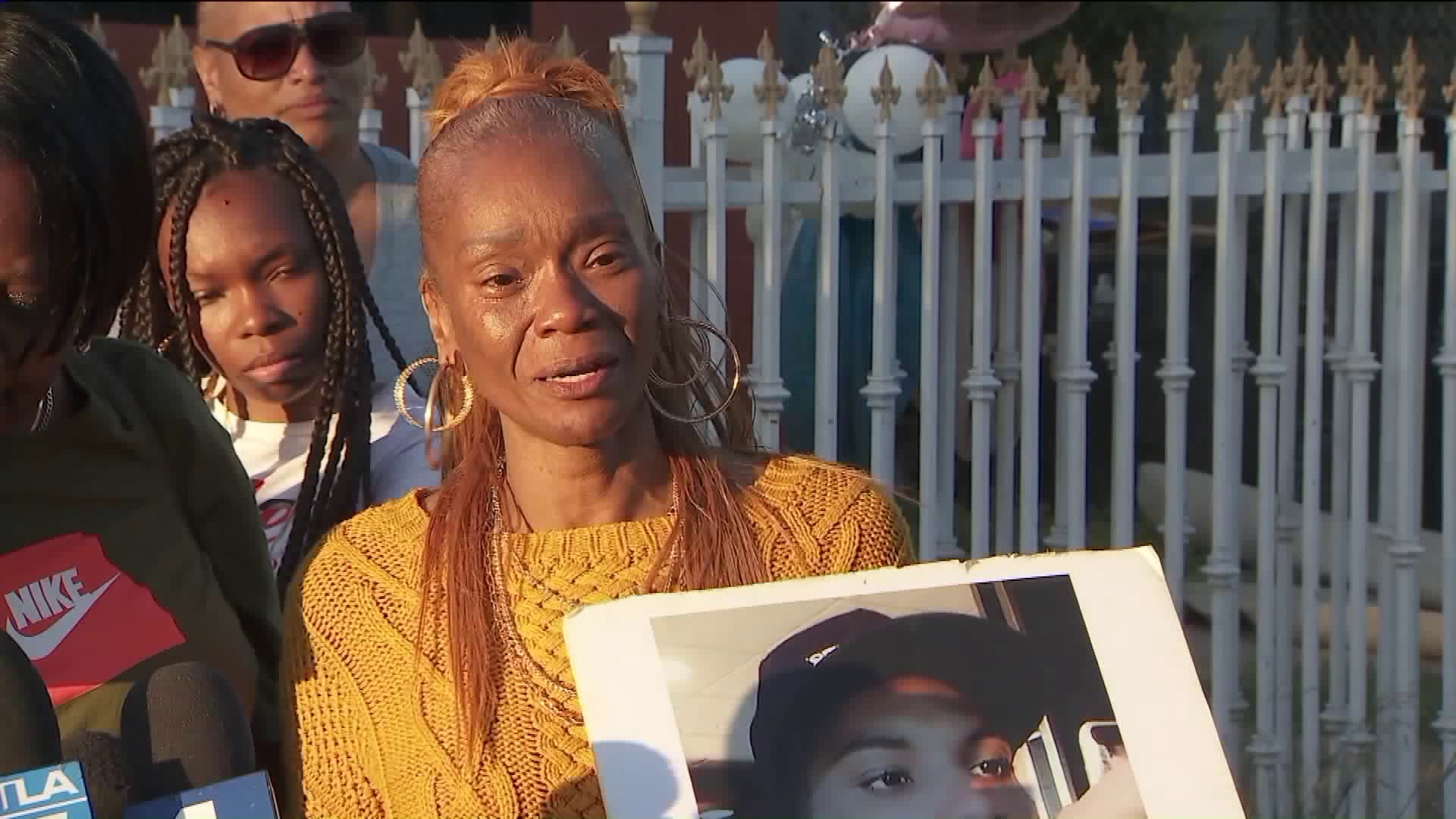 Vanessa Hawkins speaks at a vigil for her daughter, Micquel, who was shot and killed in South L.A. (Credit: KTLA)