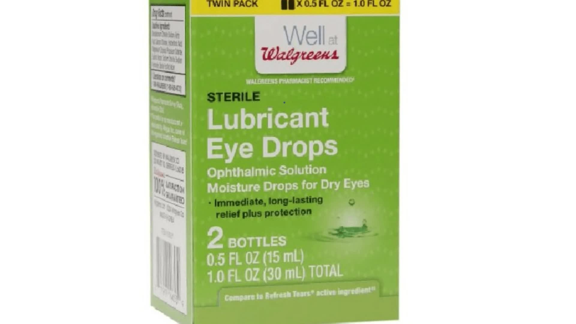 A box of Walgreens eyedrops is seen in an undated photo provided by the FDA and Walgreens on July 7, 2019.