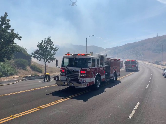 Firefighters responding to a brush fire in Chino Hills are seen in a photo tweeted by the San Bernardino County Fire Department on July 29, 2019.