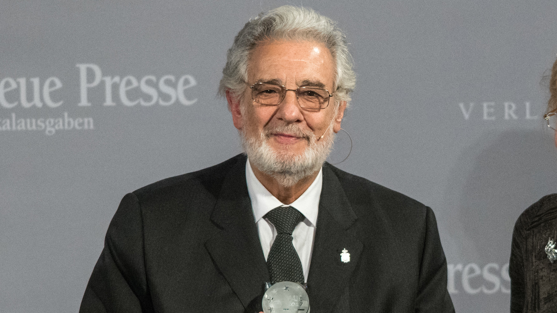 "Spanish Opera singer Placido Domingo receives the ""People in Europe Arts Award"" at a ceremony in Passau, southern Germany on November 28, 2017.(Credit: ARMIN WEIGEL/AFP/Getty Images)"