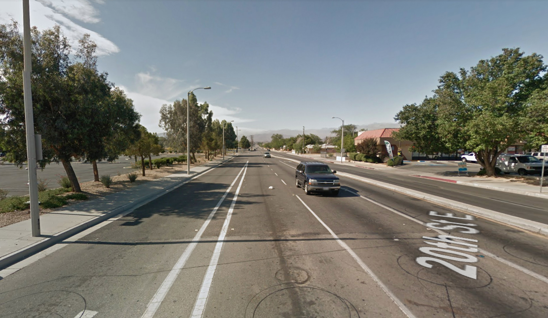 The 3800 block of 20th Street East in Palmdale is shown in a Street View image from Google Maps.