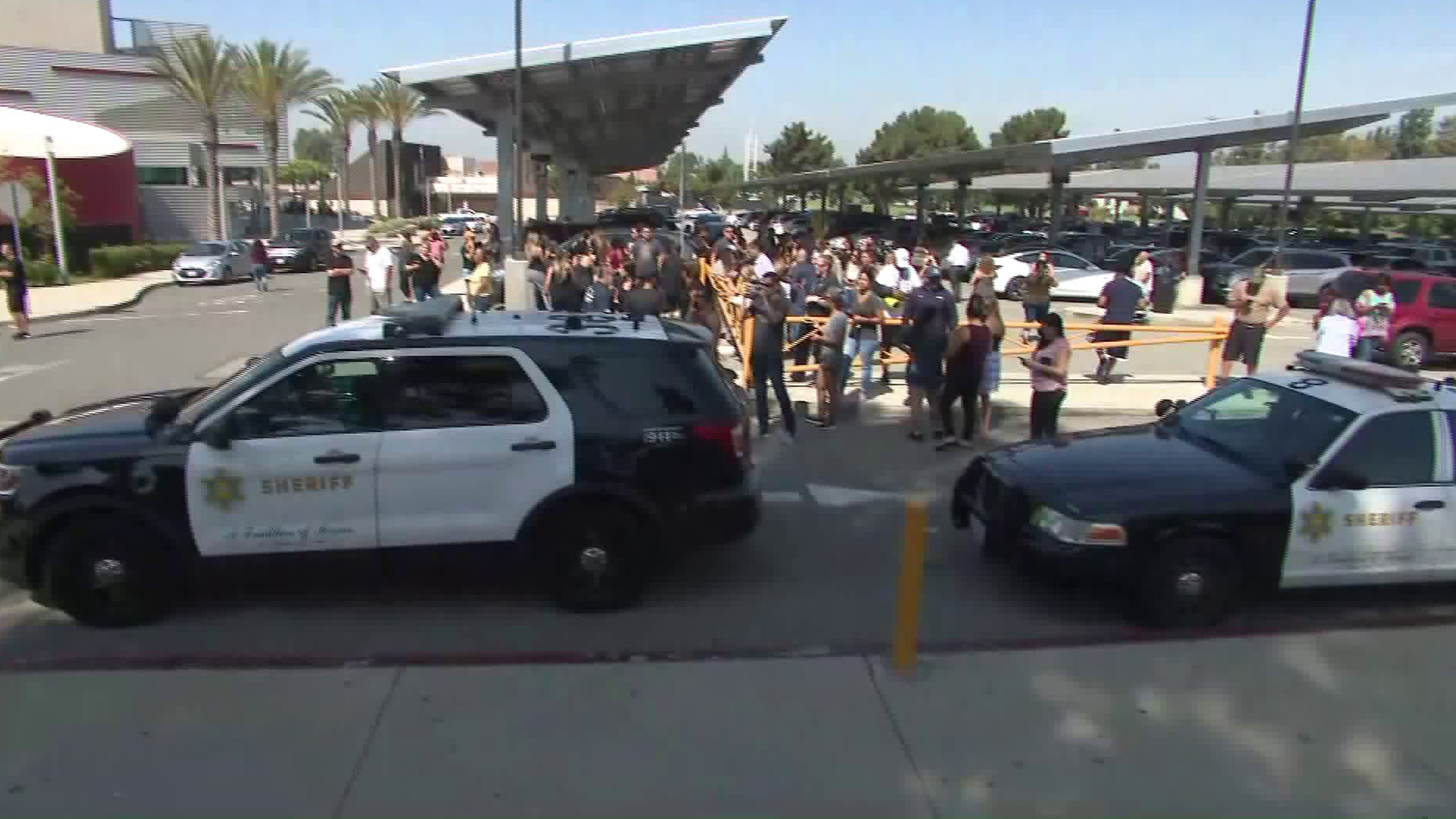 Sheriff's patrol vehicles could be seen on the San Dimas High School campus on Aug. 22, 2019. (Credit: KTLA)