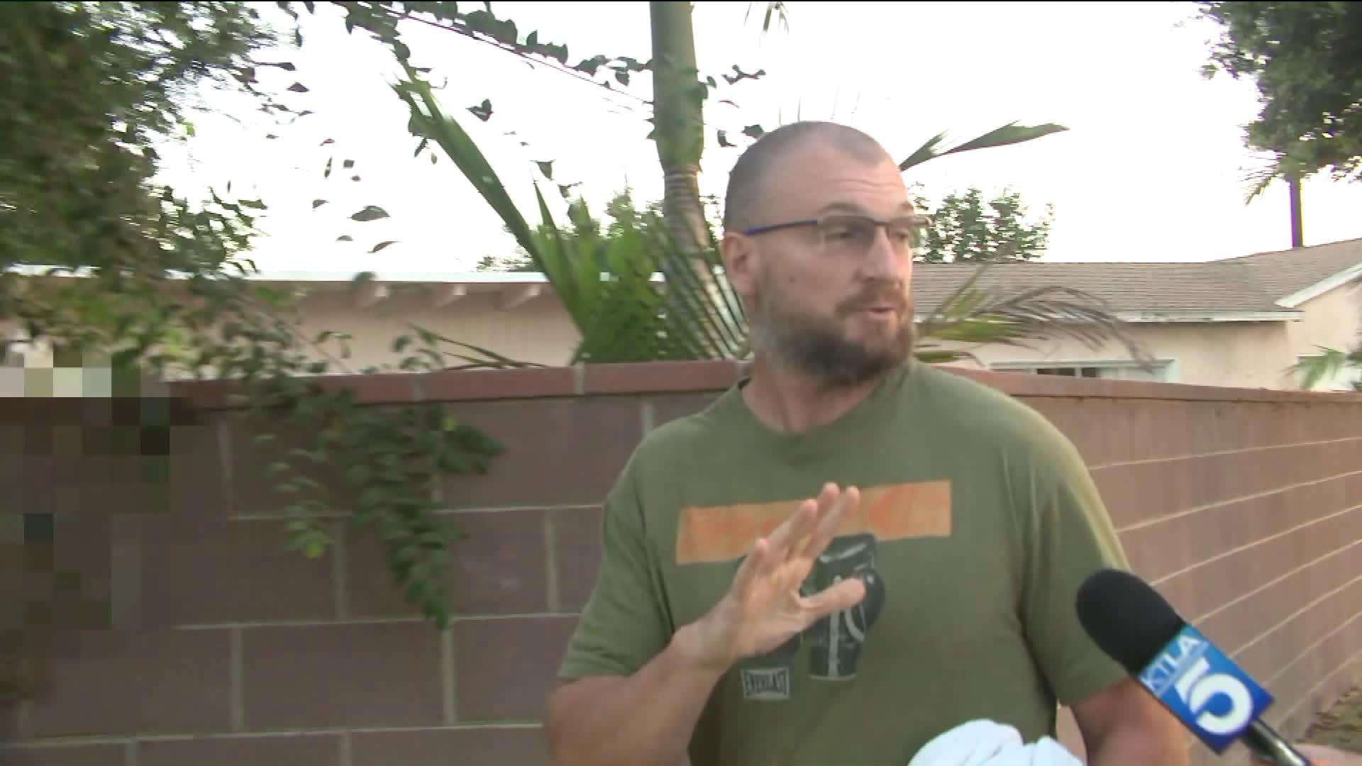 Bruce Beresford-Redman is seen outside his home on Sep. 9, 2019. (Credit: KTLA)
