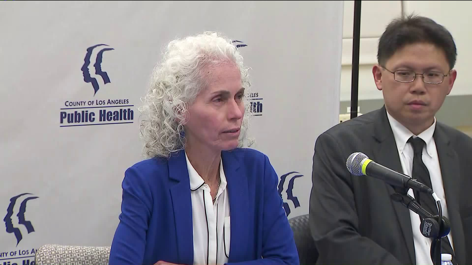 Director of the Los Angeles County Department of Public Health speaks at a news conference on Sept. 6, 2019. (Credit: KTLA)