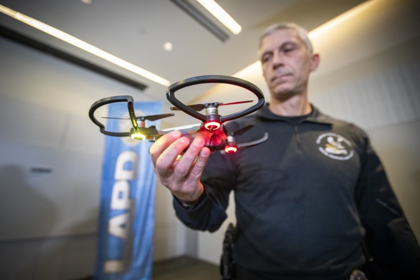 Los Angeles Police SWAT officer Tom Chinappi is pictured at a news conference held in January 2019 to announce the department's first use of a drone. (Credit: Allen J. Schaben / Los Angeles Times)