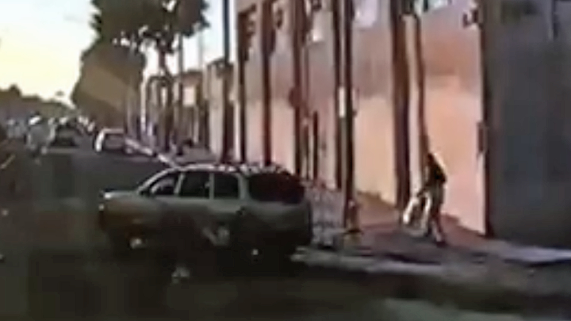 An SUV involved in a hit-and-run crash in the Fashion District area of downtown Los Angeles is shown in a surveillance still released by the LAPD on Sept. 18, 2019.