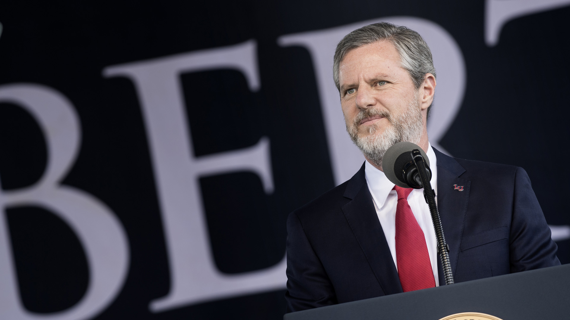 President of Liberty University Jerry Falwell, Jr. speaks during Liberty University's commencement ceremony May 13, 2017 in Lynchburg, Virginia. (Credit: BRENDAN SMIALOWSKI/AFP/Getty Images)