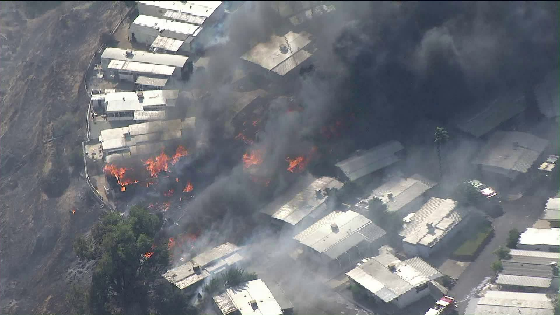 The Sandalwood Fire leaves several homes destroyed at a mobile home park in Calimesa on Oct. 10, 2019. (Credit: KTLA)