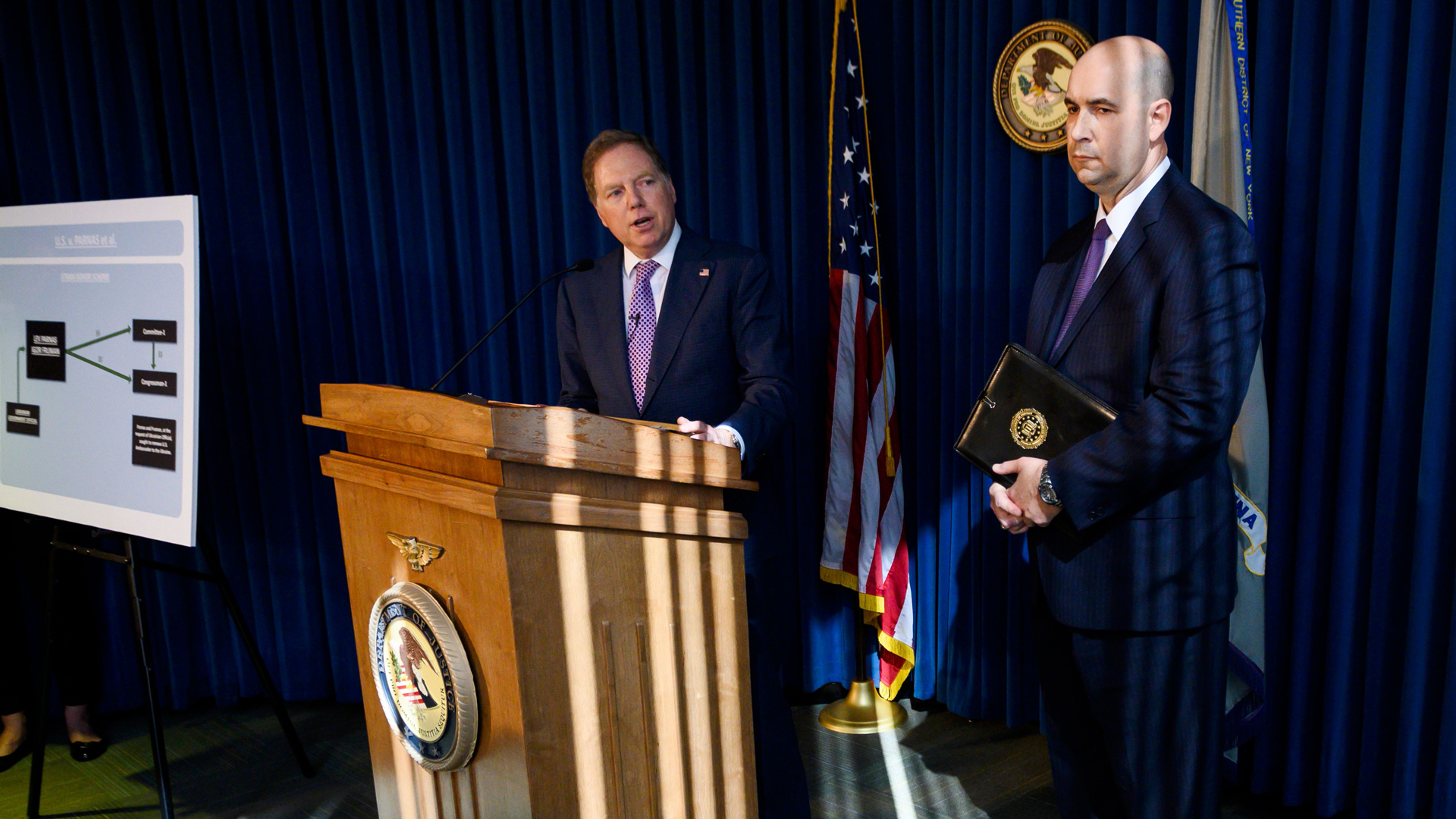 U.S. Attorney for the Southern District of New York Geoffrey Berman, with FBI New York Office Assistant Director-in-Charge, William Sweeney, speaks during a press conference Oct. 10, 2019 in New York City. Berman announced the indictment of Lev Parnas, Igor Fruman, David Correia, and Andrey Kukushnin for various charges related to two separate schemes in which the defendants allegedly conspired to violate U.S. federal election laws. (Credit: JOHANNES EISELE/AFP via Getty Images)