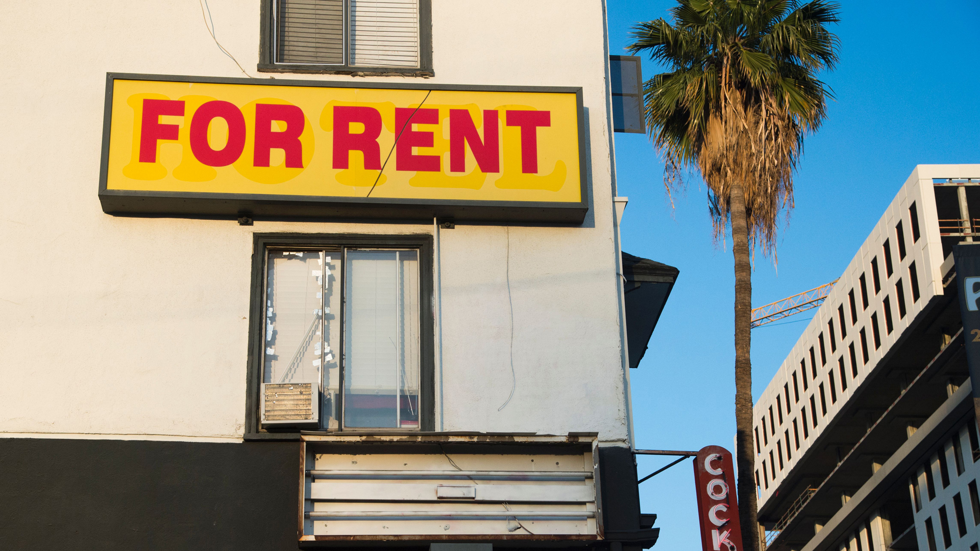 "A ""for rent"" sign is seen on a building Hollywood on May 11, 2016. (Credit: Robyn Beck/AFP via Getty Images)"