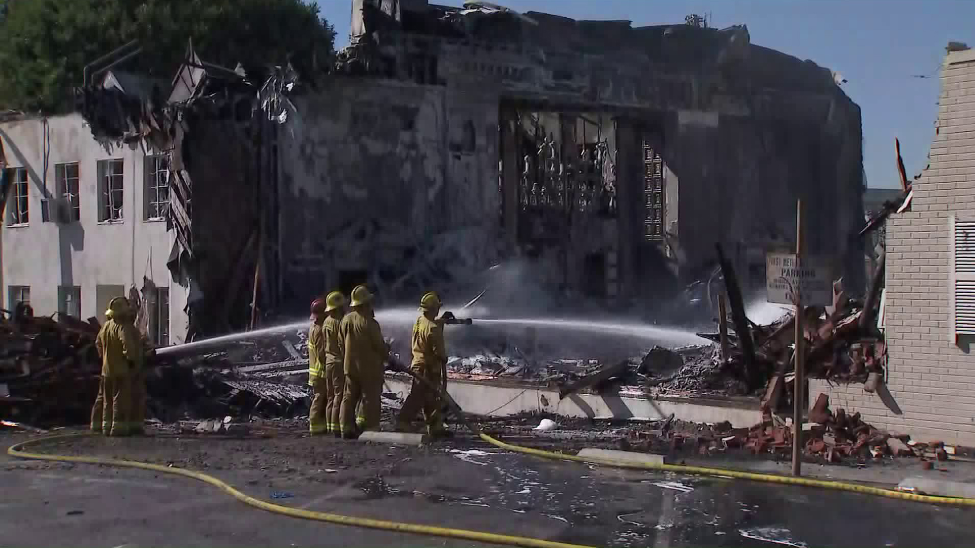 The Good Shepherd Bible Church in Whittier was destroyed in a fire on Oct. 31, 2019. (Credit: KTLA)