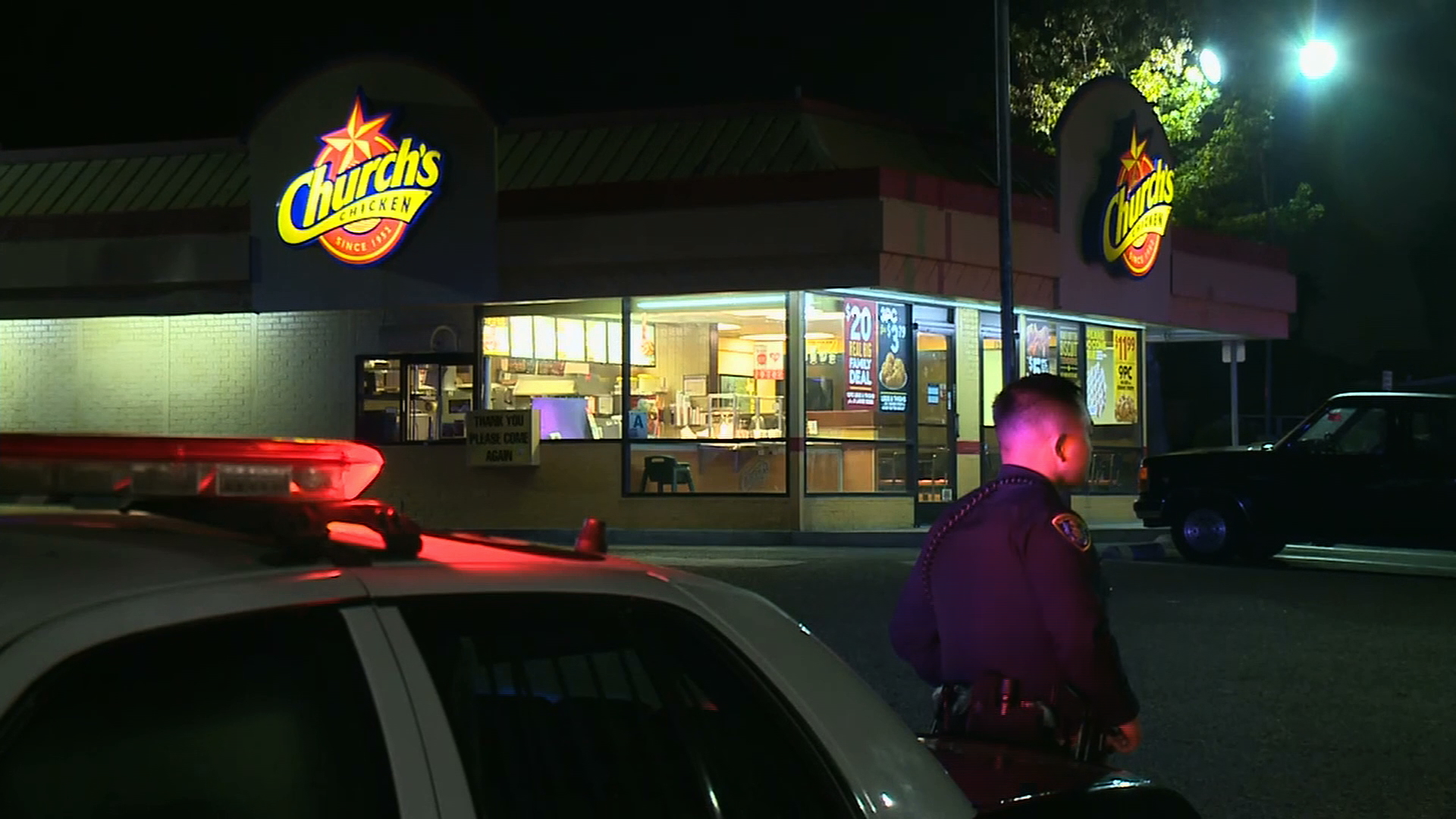 Police respond after a fatal shooting at a Church's Chicken in Otay Mesa on Nov. 6, 2019. (Credit: KSWB)