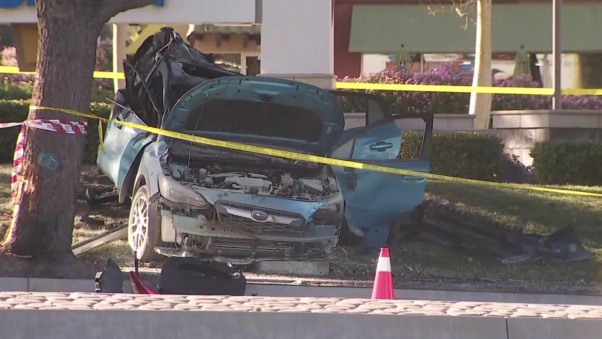 A car involved in a fatal crash in the Stevenson Ranch area is seen on Nov. 18, 2019. (credit: KTLA)