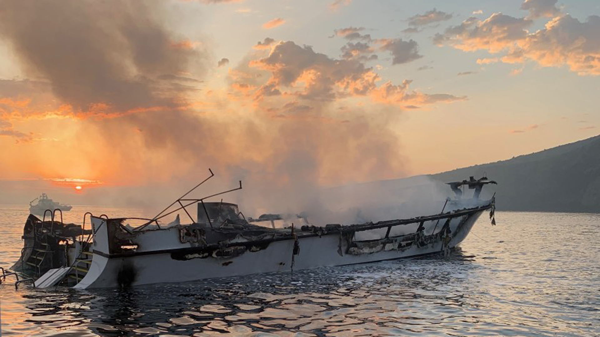 The burned-out shell of the Conception which caught fire near Santa Cruz Island.(Credit: Ventura County Fire Department via Los Angeles Times)