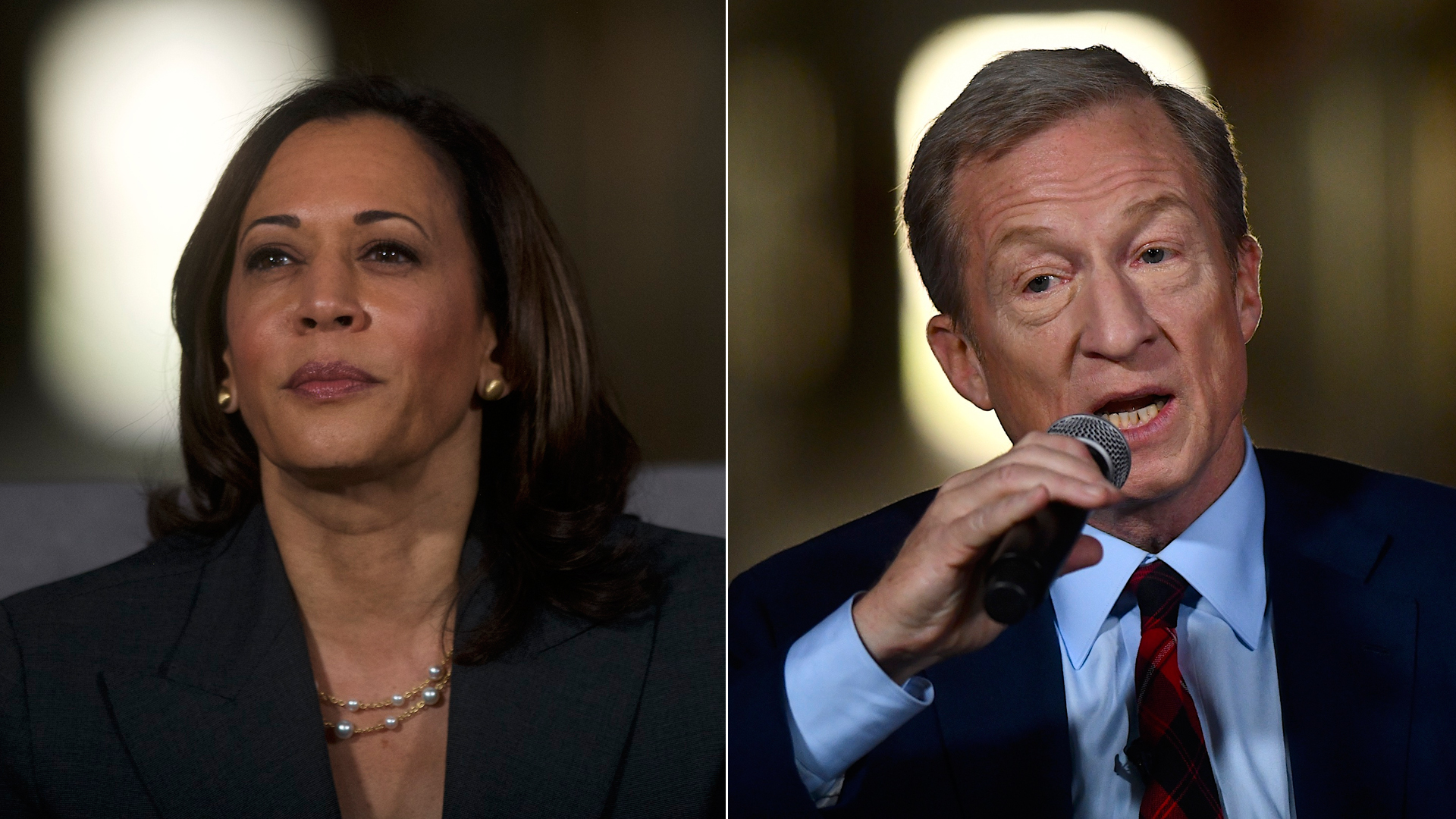 Sen. Kamala Harris, left, and Tom Steyer appear at a town hall at the Eastern State Penitentiary on Oct. 28, 2019 in Philadelphia, Pennsylvania. (Credit: Mark Makela/Getty Images)