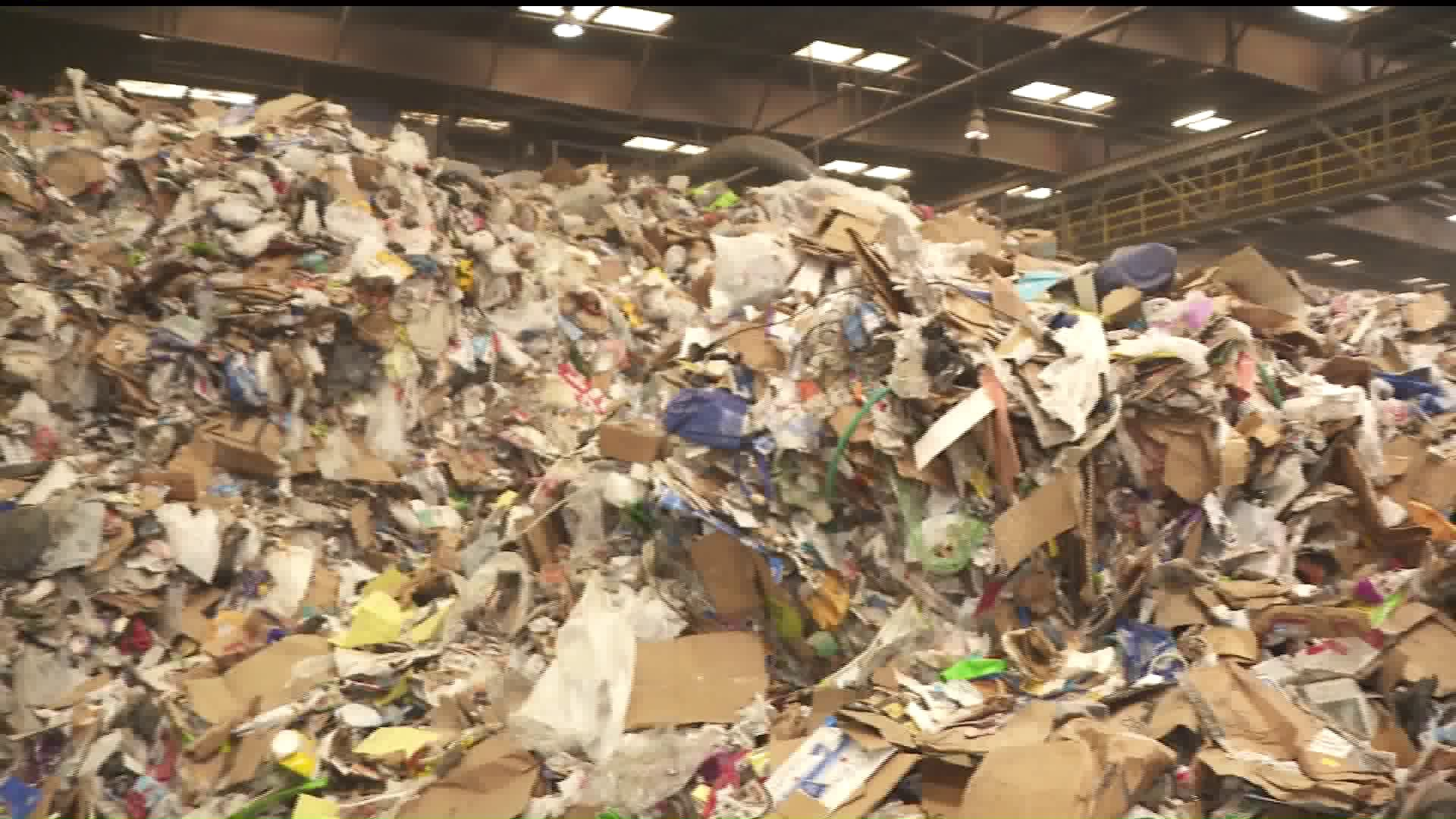 Trash awaits sorting for recycling at Republic Services in Anaheim on Nov. 21, 2019. (Credit: KTLA)