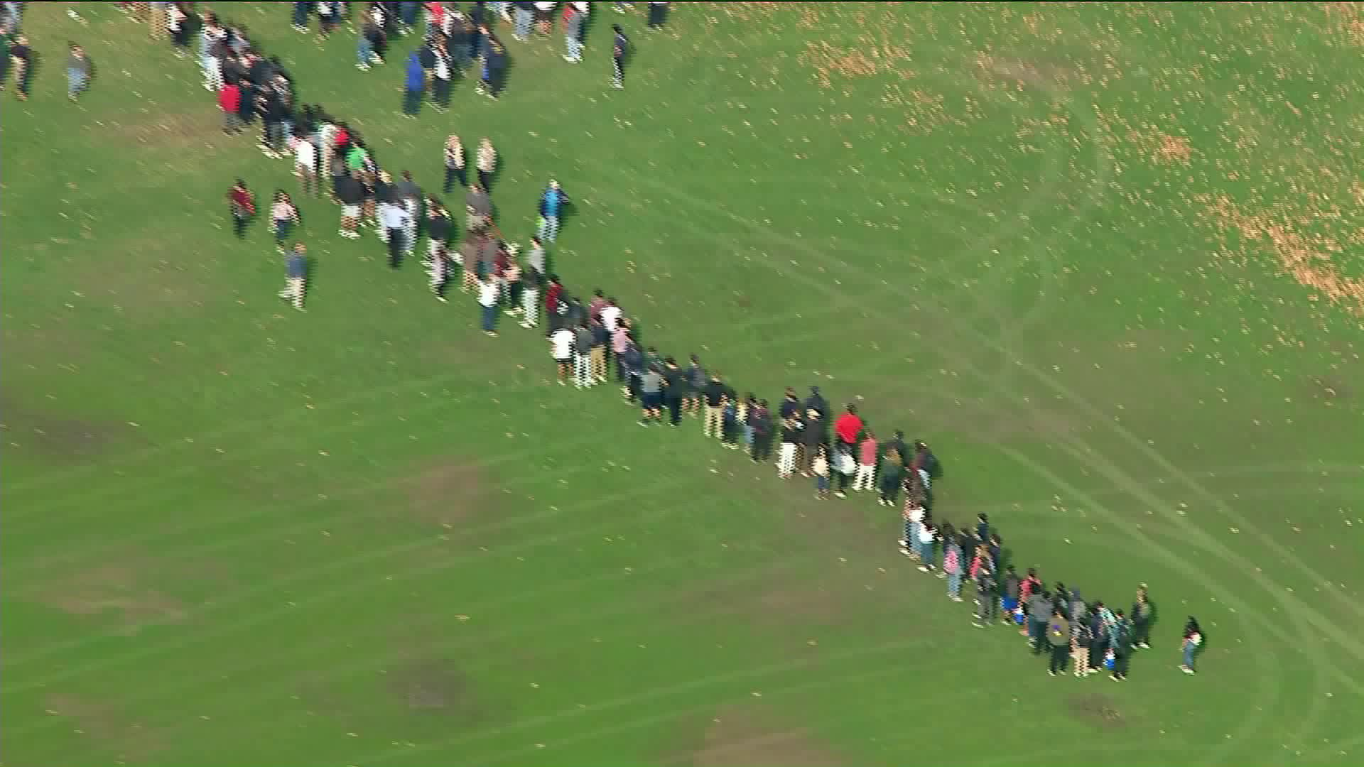 Students are seen leaving Saugus High School after a shooting on Nov. 14, 2019. (Credit: KTLA)