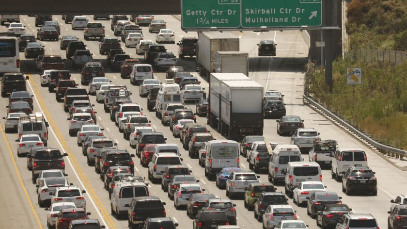 Motorists travel through the Sepulveda Pass in tis undated photo. (Credit: Al Seib / Los Angeles Times)