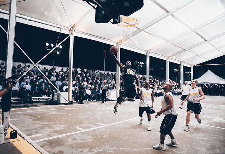 Members of the Sacramento Kings play basketball with inmates at Folsom State Prison on Dec. 12, 2019. (Credit: Josh Pierce / Sacramento Kings)