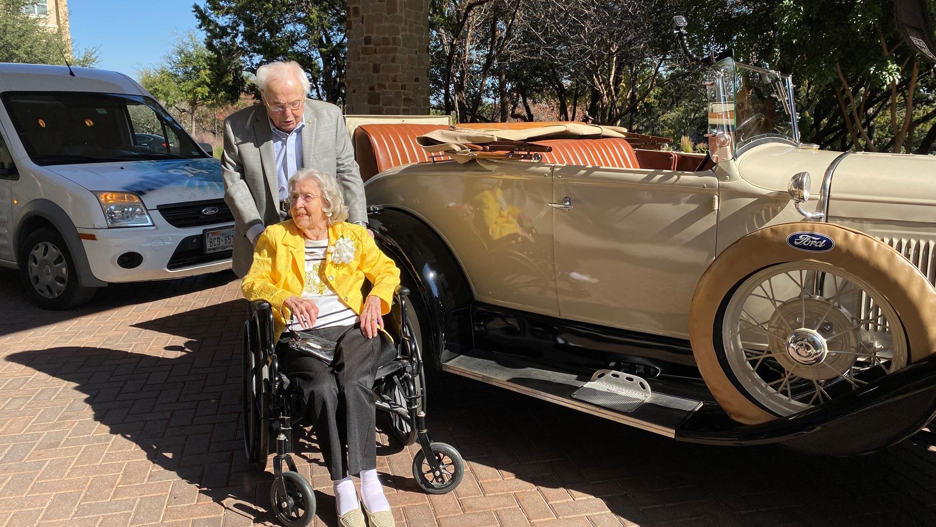 John Henderson, 106, picked up Charlotte Henderson, 105, in a 1920's Roadster to celebrate the major milestone. (Credit: Longhorn Village Senior Living Community)