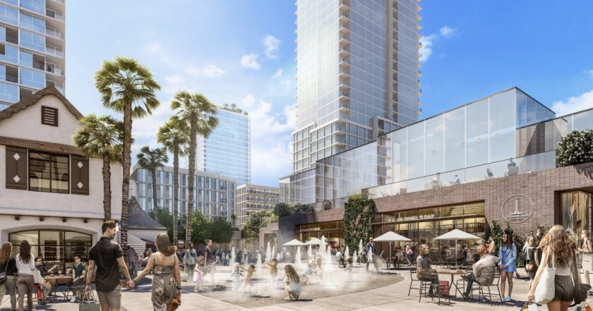 An artist's rendering shows the Crossroads Hollywood project, which was approved in 2019. It includes a 26-story hotel and two residential towers and 190,000 square feet of commercial space. (Credit: Skidmore, Owings & Merrill)