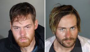 Brian Keith Upton, 29, left, and James Stephen Henry, 31, right, sought in connection with an organized theft ring targeting Southern California cosmetics stores, are pictured in photos released by the Los Angeles Police Department on Dec. 13, 2019.
