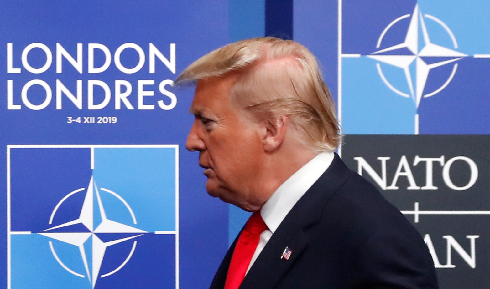 US President Donald Trump arrives for the NATO summit at the Grove hotel in Watford, northeast of London on December 4, 2019. (Credit: CHRISTIAN HARTMANN/POOL/AFP via Getty Images)