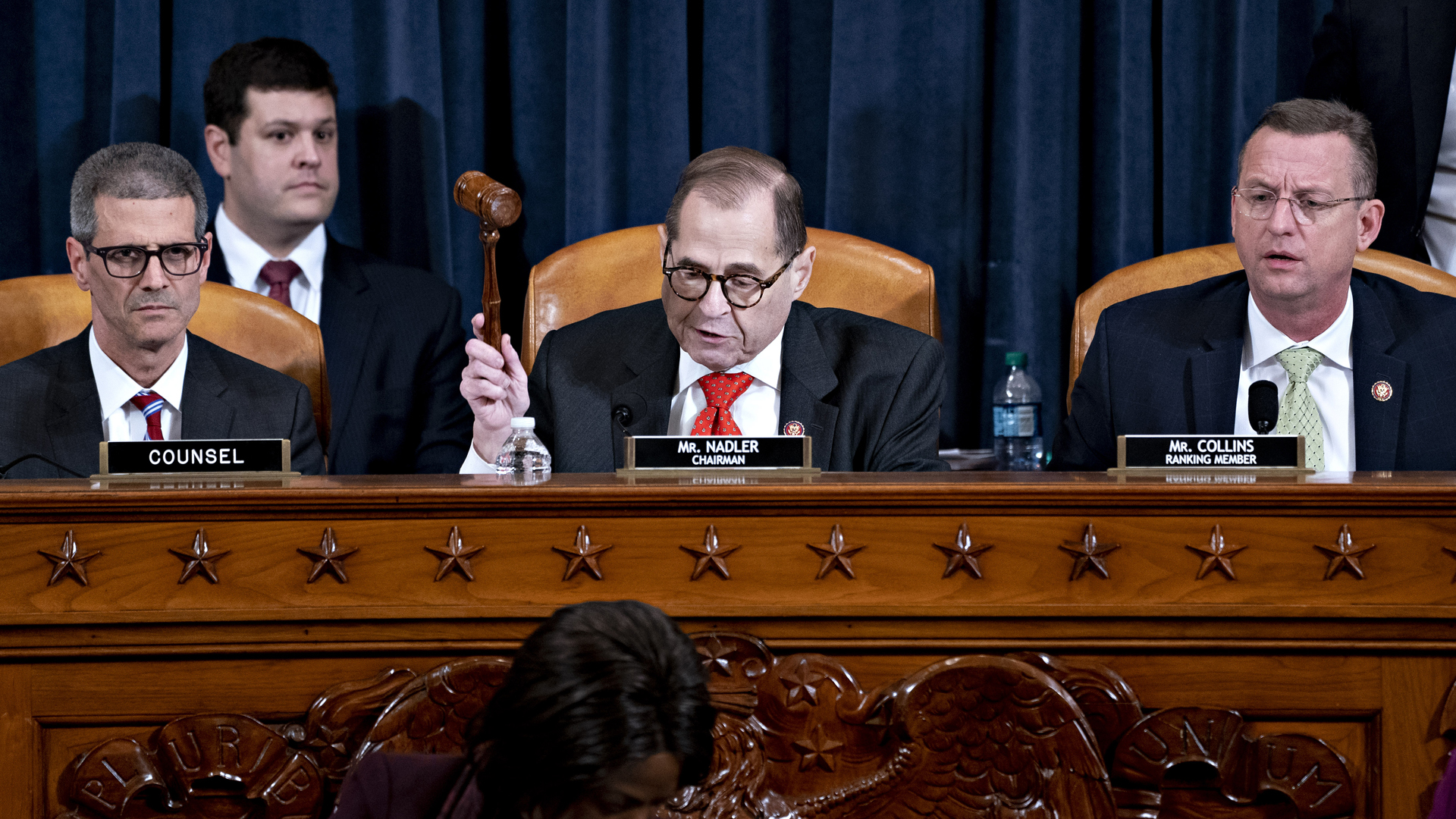 U.S. House Judiciary Committee Chairman Jerry Nadler (D-NY) gavels the committee hearing to an adjournment at the Longworth House Office Building on Dec. 12, 2019, in Washington, DC. (Credit: Andrew Harrer - Pool/Getty Images)