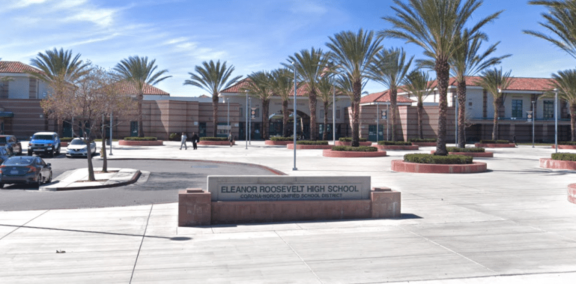 Eleanor Roosevelt High School in Eastvale is shown in in a Street View image from Google Maps.