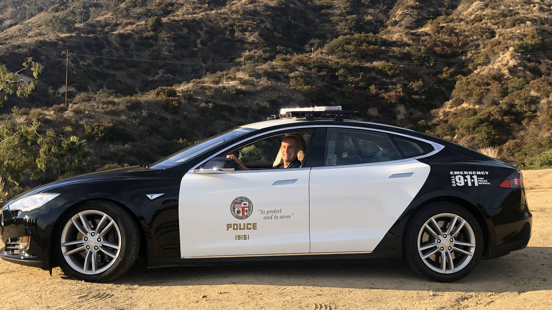 A Tesla Model S being tested by the Los Angeles Police Department is shown in Hollywood in a photo released by the LAPD on Dec. 11, 2019.
