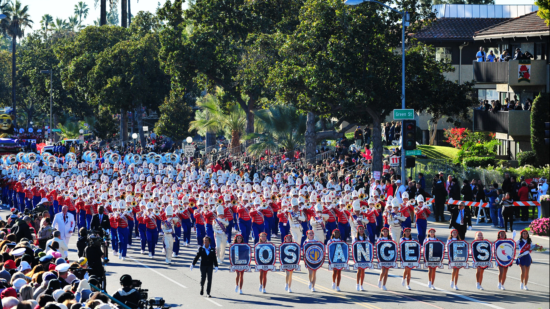 The Los Angeles Unified School District All City Honor Marching band participates in the 130th Rose Parade Presented by Honda on Jan. 1, 2019, in Pasadena, California. (Credit: Jerod Harris/Getty Images)