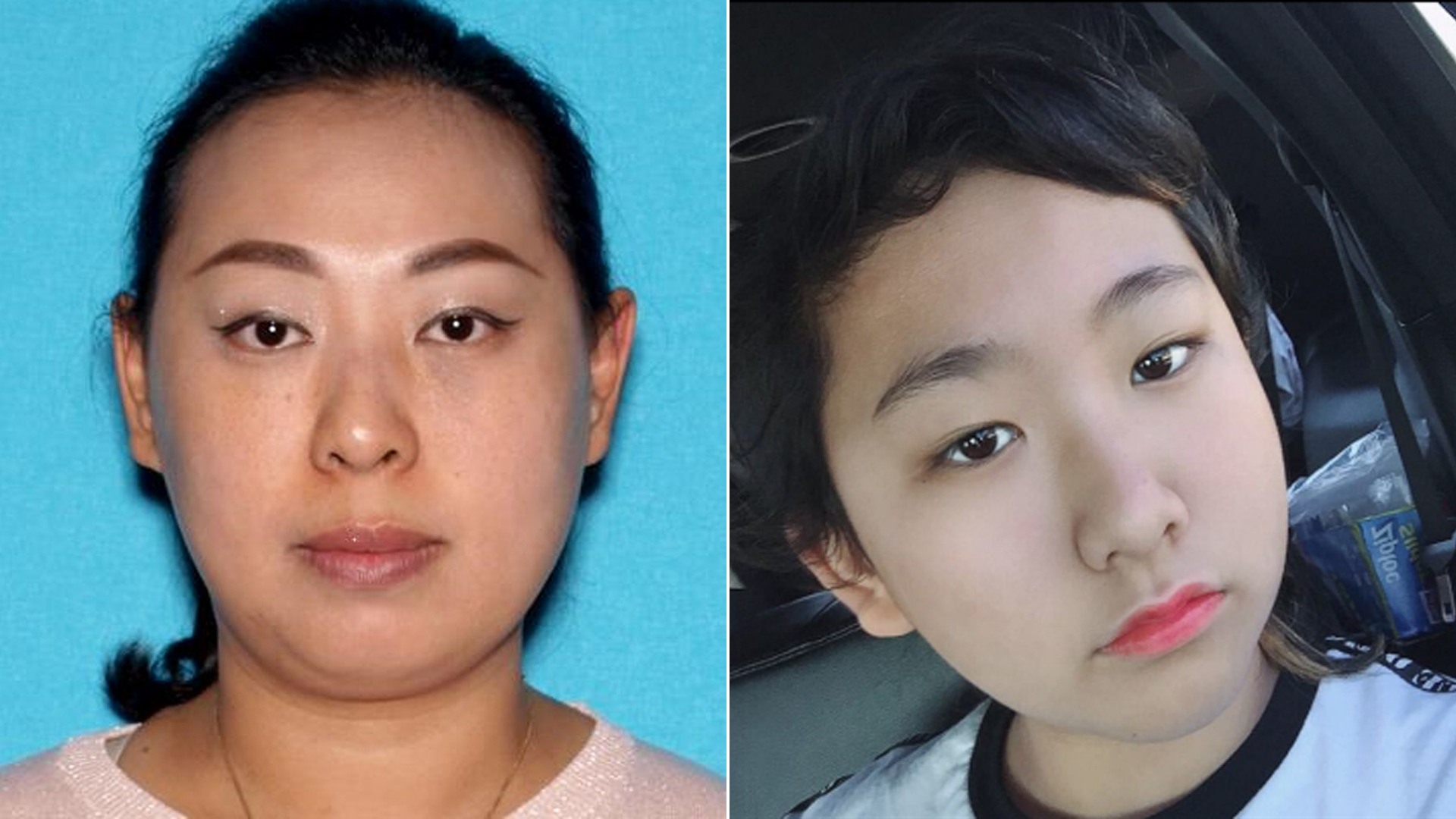 Amber Aiaz, also known as Mei Yi Wu, 34, of Irvine, left, and daughter Melissa Fu, 12, of Irvine, right, pictured in photos released by the Irvine Police Department on Dec. 4, 2019.