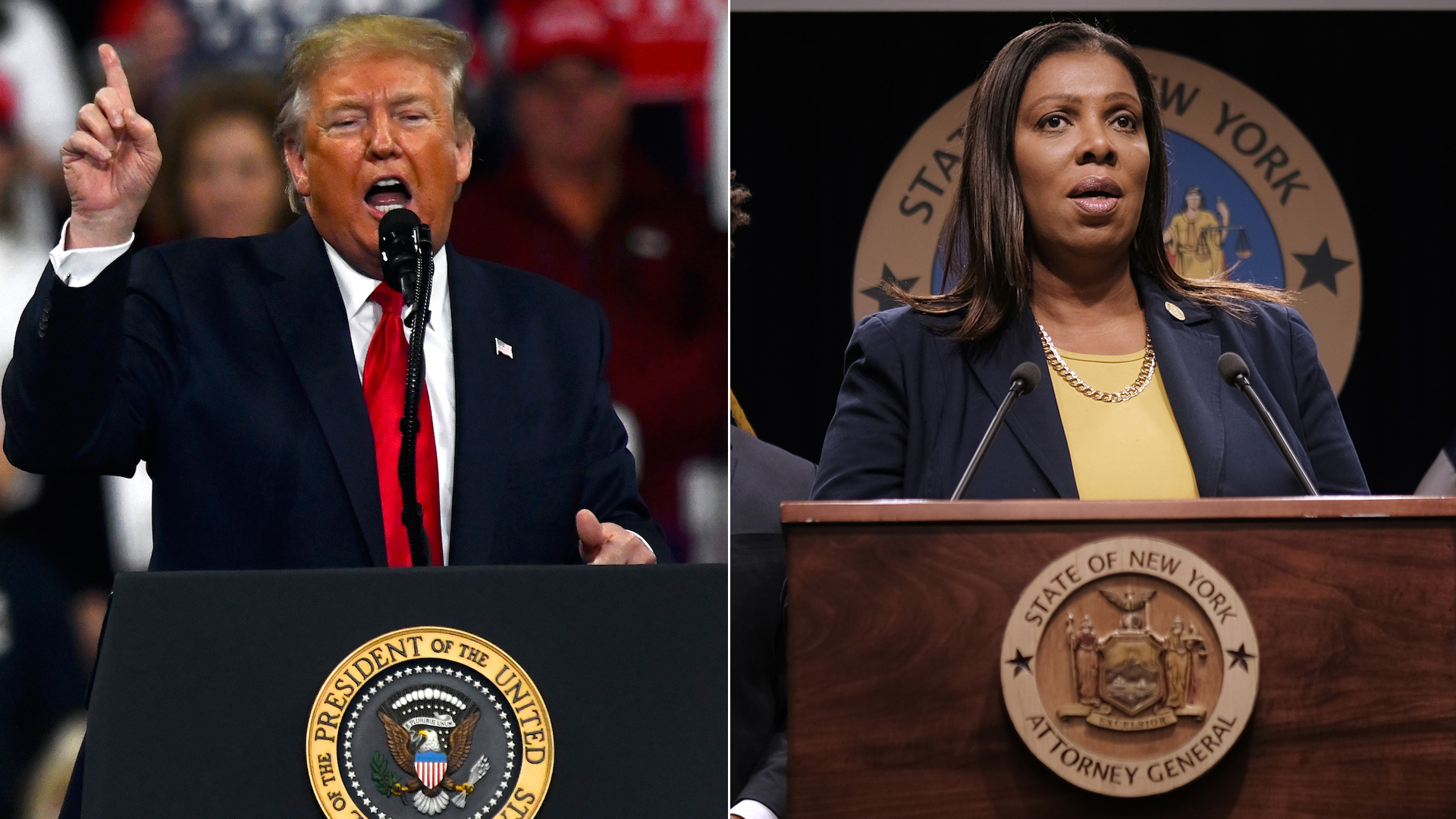 Donald Trump, left, speaks at a campaign rally on Dec. 10, 2019 in Hershey, Pennsylvania. New York State Attorney General Letitia James, right, holds a news conference Nov. 19, 2019 in New York City. (Credit: Mark Makela/Spencer Platt/Getty Images)