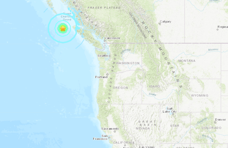 A U.S. Geological Survey map indicates where a magnitude 6.3 earthquake struck off the coast of British Columbia on Dec. 24, 2019.