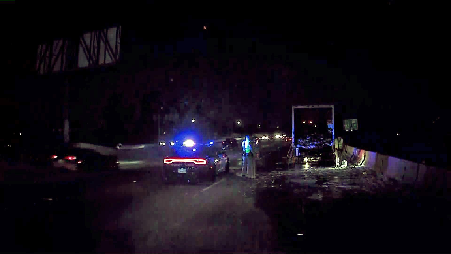 Officers block off 170 Freeway lanes after a truck fire on Jan. 2, 2020. (Credit: KTLA)