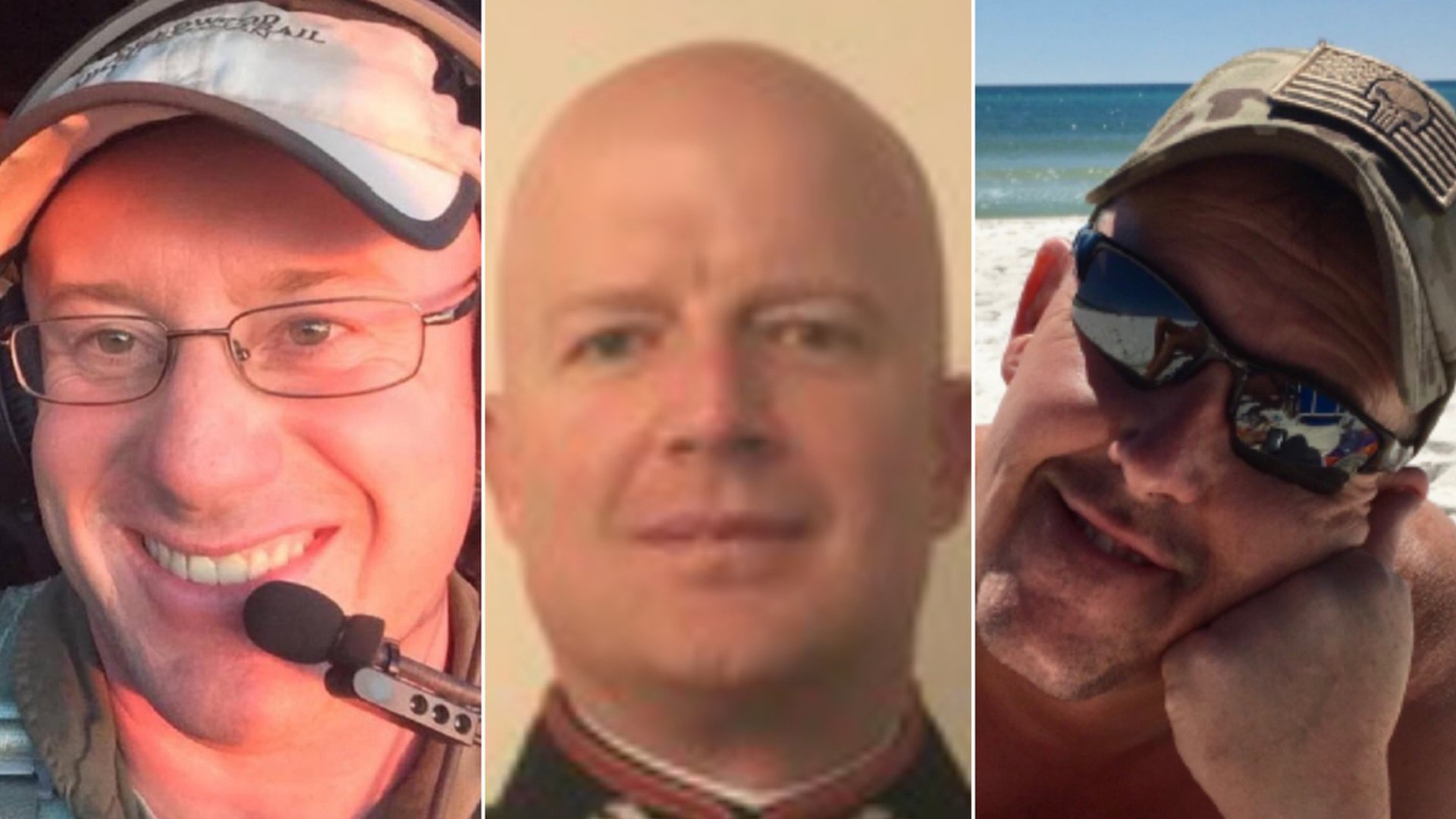 The three firefighters have been identified as (from left to right) Capt. Ian McBeth of Great Falls, Montana; First Officer Paul Clyde Hudson of Buckeye, Arizona; and Flight Engineer Rick DeMorgan Jr. of Navarre, Florida. (Credit: Coulson Aviation Inc.)