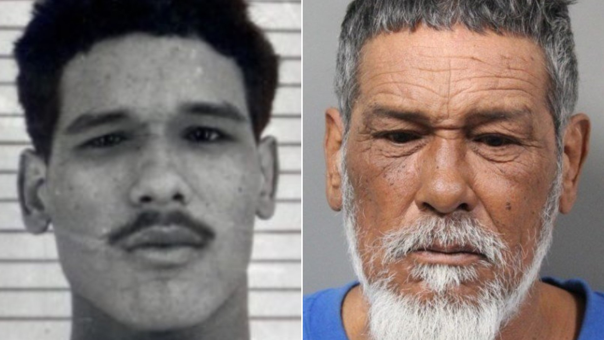 Seen are Jose Romero's booking photos from 1979, left, and 2020. (Credit: South Carolina Department of Corrections)