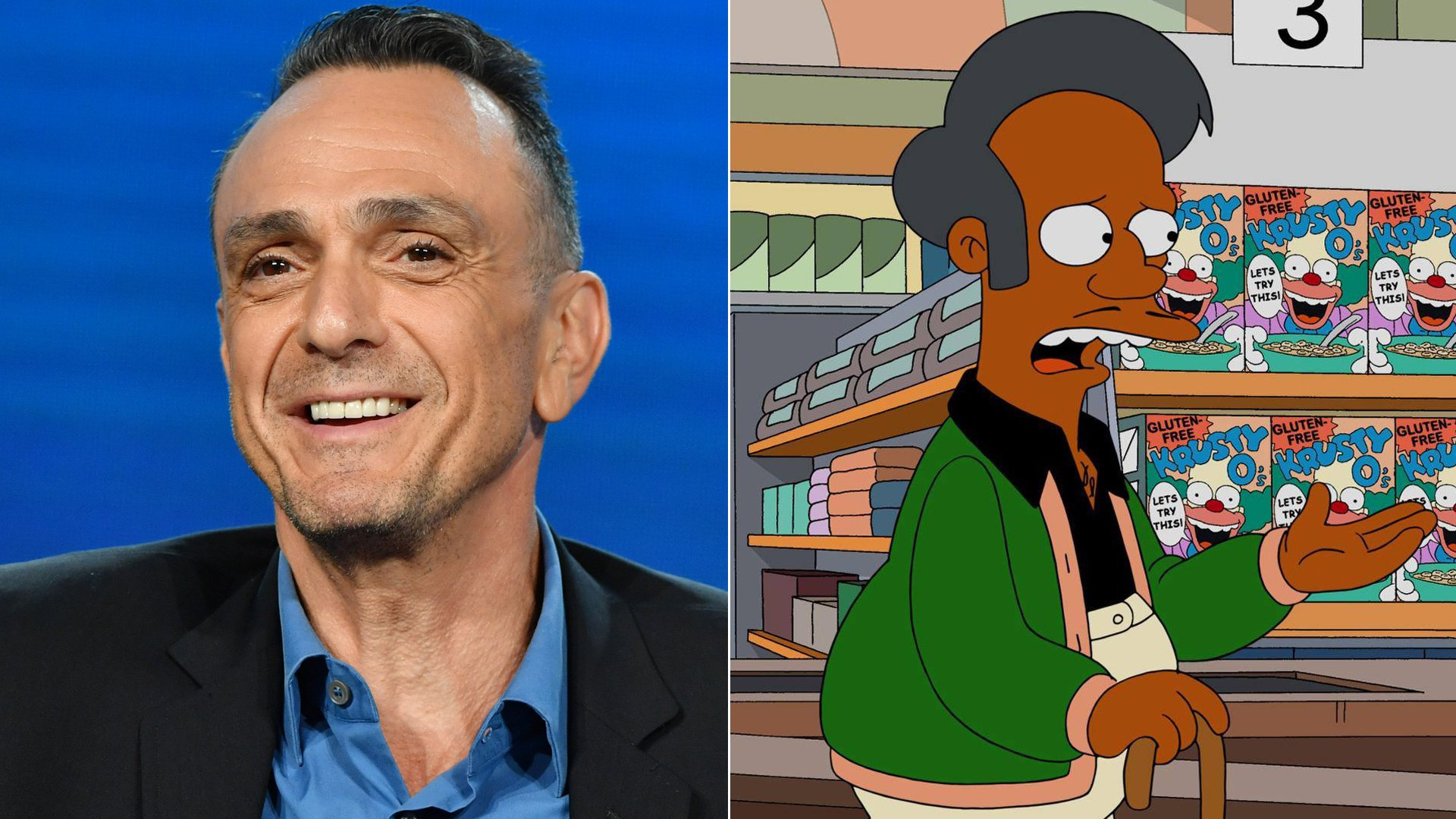 "Hank Azaria speaks at the 2020 Winter TCA Press Tour at The Langham Huntington, Pasadena on Jan. 16, 2020. The character Apu, right, is seen in an image posted on ""The Simpsons""' Facebook page in January 2016. (Credit: Amy Sussman/Getty Images; The Simpsons)"