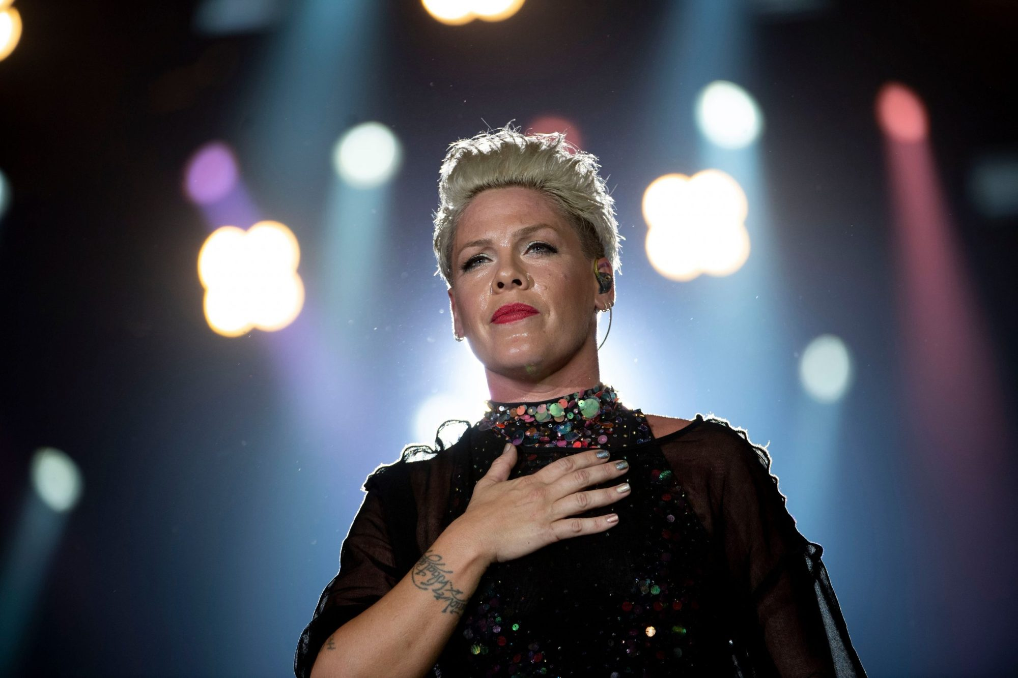 Pink performs during the Rock in Rio festival at Olympic Park in Rio de Janeiro, Brazil, on Oct. 5, 2019. (MAURO PIMENTEL/AFP via Getty Images)