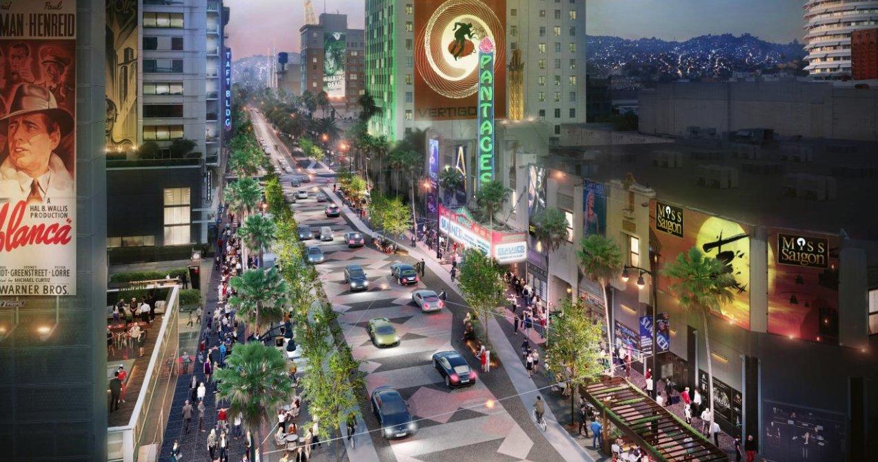 An artist's rendering depicts proposed changes along Hollywood Boulevard. (Credit: Gensler)