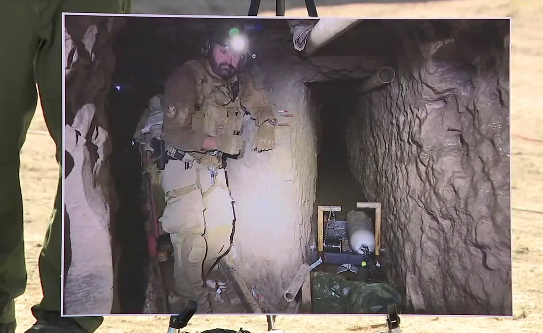CBP officials released this image of the tunnel at a news conference on Jan. 29, 2020. (Credit: KSWB)