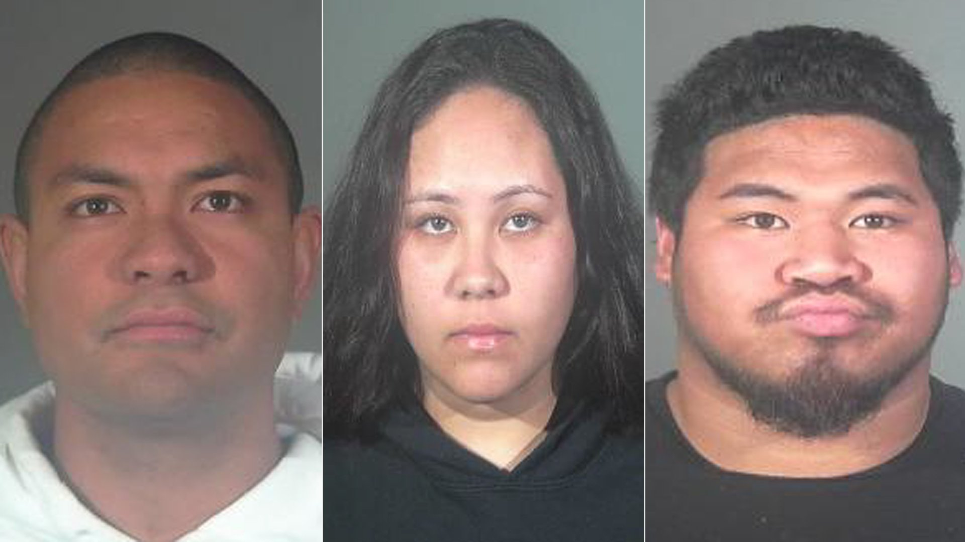 From left, Sekope Tuitavuki, Jordyn Kolone and William Satuala are seen in booking photos released by the Torrance Police Department.