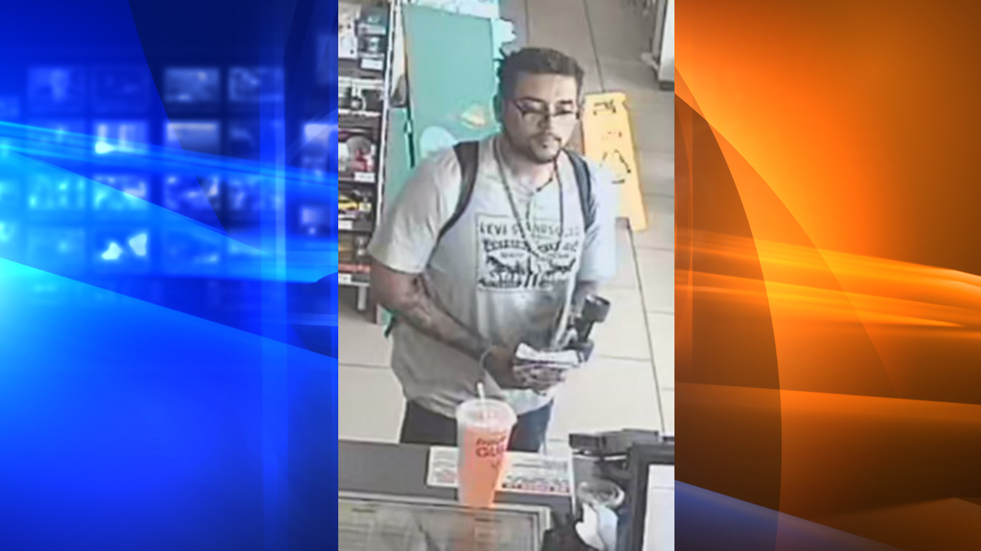 The robbery suspect is seen in surveillance video released by the Santa Ana Police Department on Feb. 27, 2020.